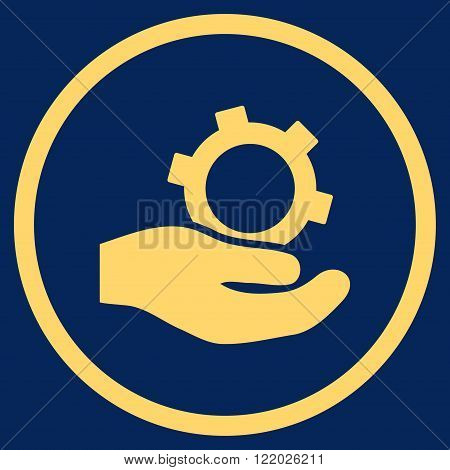 Engineering Service vector icon. Style is flat rounded iconic symbol, engineering service icon is drawn with yellow color on a blue background.