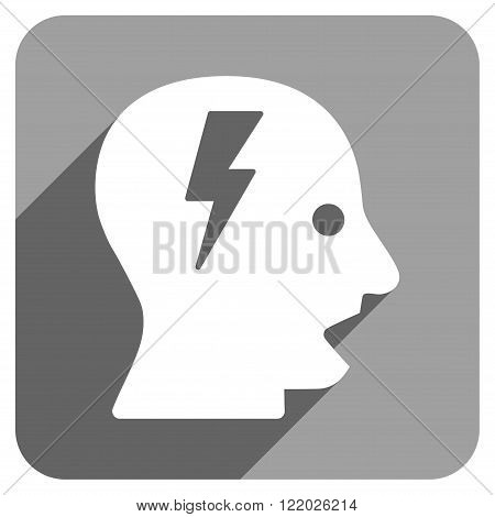 Shouting Head long shadow vector icon. Style is a flat shouting head iconic symbol on a gray square background.