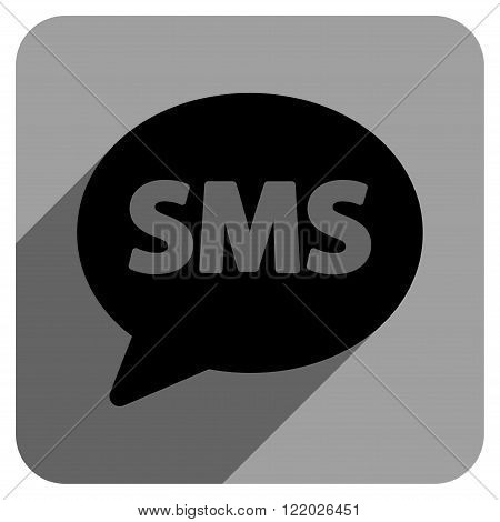 SMS long shadow vector icon. Style is a flat sms iconic symbol on a gray square background.