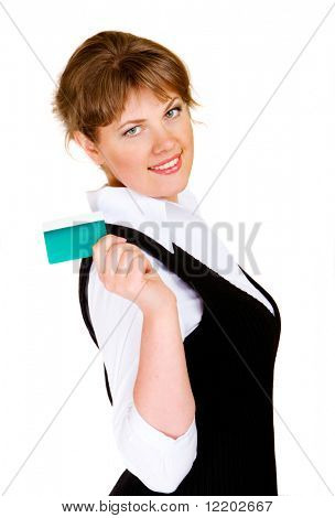 young attractive businesswoman isolated on white background