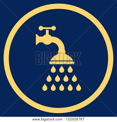 Shower Tap vector icon. Style is flat rounded iconic symbol, shower tap icon is drawn with yellow color on a blue background.