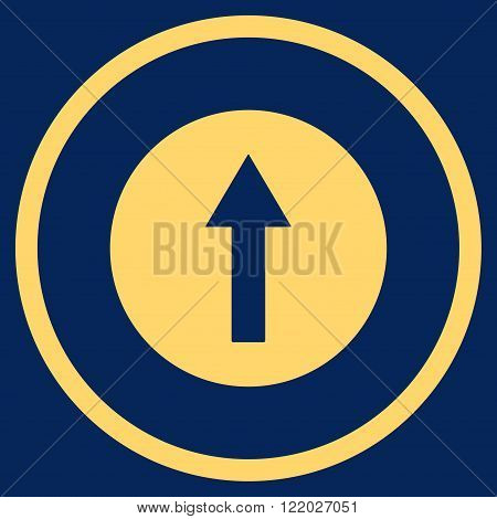 Up Rounded Arrow vector icon. Style is flat rounded iconic symbol, up rounded arrow icon is drawn with yellow color on a blue background.
