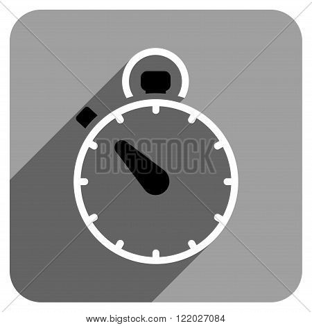 Stopwatch long shadow vector icon. Style is a flat stopwatch iconic symbol on a gray square background.