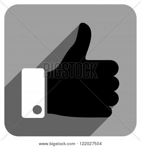 Thumb Up long shadow vector icon. Style is a flat thumb up iconic symbol on a gray square background.