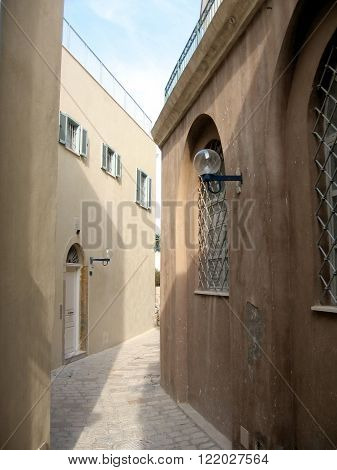 New houses on Netiv HaMazalot street in old Jaffa Israel
