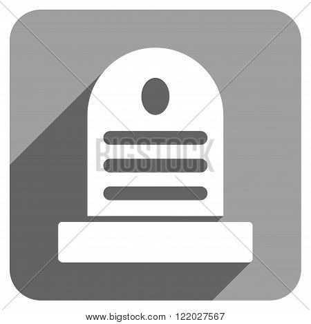 Tombstone long shadow vector icon. Style is a flat tombstone iconic symbol on a gray square background.