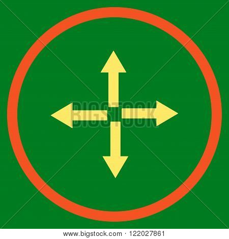 Expand Arrows vector icon. Style is bicolor flat rounded iconic symbol, expand arrows icon is drawn with orange and yellow colors on a green background.