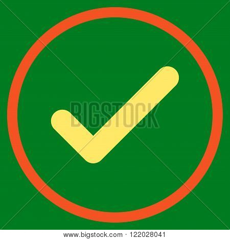 Ok vector icon. Style is bicolor flat rounded iconic symbol, ok icon is drawn with orange and yellow colors on a green background.