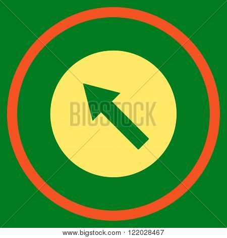 Up-Left Rounded Arrow vector icon. Style is bicolor flat rounded iconic symbol, up-left rounded arrow icon is drawn with orange and yellow colors on a green background.