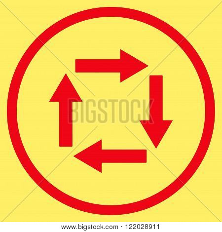 Circulation Arrows vector icon. Style is flat rounded iconic symbol, circulation arrows icon is drawn with red color on a yellow background.