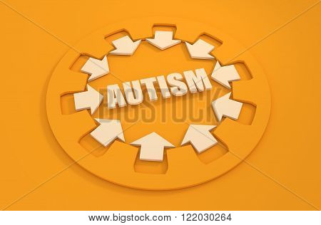 Icon with flat design elements of human mind process people brain thinking mental health and autism problem opportunities and mental transform. Modern pictogram concept.3d rendering