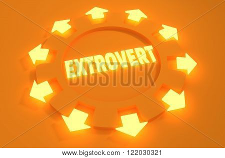 extrovert simple icon metaphor. image relative to human psychology