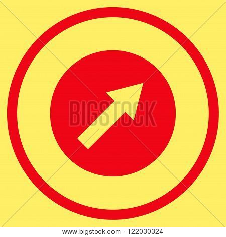 Up-Right Rounded Arrow vector icon. Style is flat rounded iconic symbol, up-right rounded arrow icon is drawn with red color on a yellow background.