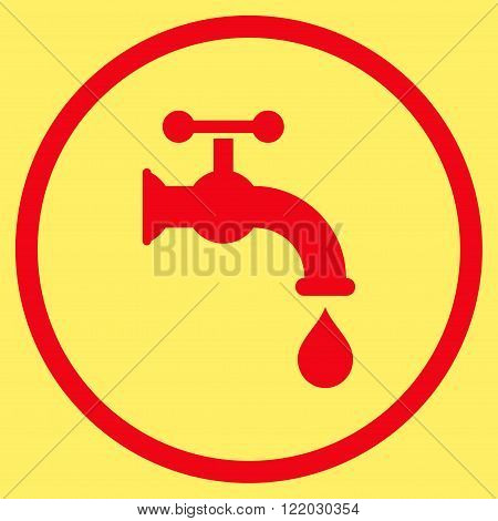 Water Tap vector icon. Style is flat rounded iconic symbol, water tap icon is drawn with red color on a yellow background.