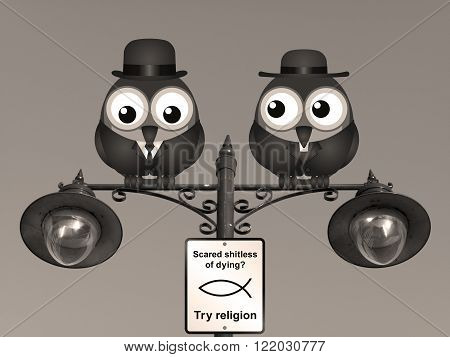Sepia comical scared of dying try religion sign with birds perched on a lamppost