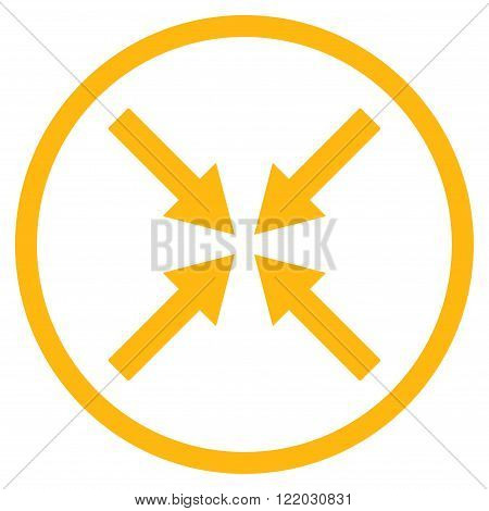 Center Arrows vector icon. Style is flat rounded iconic symbol, center arrows icon is drawn with yellow color on a white background.