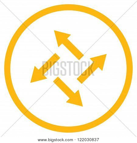 Centrifugal Arrows vector icon. Style is flat rounded iconic symbol, centrifugal arrows icon is drawn with yellow color on a white background.