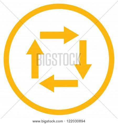 Circulation Arrows vector icon. Style is flat rounded iconic symbol, circulation arrows icon is drawn with yellow color on a white background.