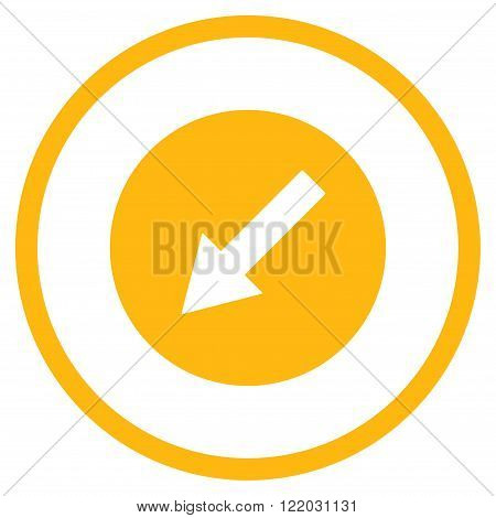Down-Left Rounded Arrow vector icon. Style is flat rounded iconic symbol, down-left rounded arrow icon is drawn with yellow color on a white background.