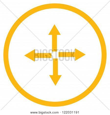 Expand Arrows vector icon. Style is flat rounded iconic symbol, expand arrows icon is drawn with yellow color on a white background.