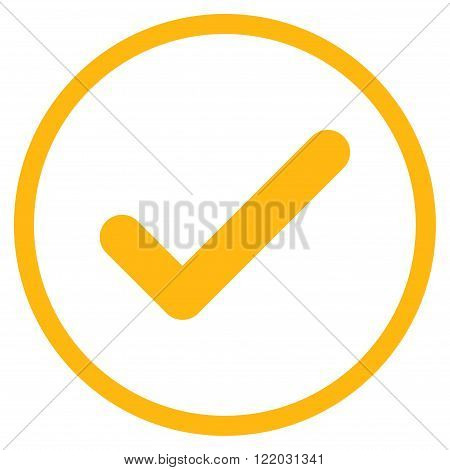 Ok vector icon. Style is flat rounded iconic symbol, ok icon is drawn with yellow color on a white background.