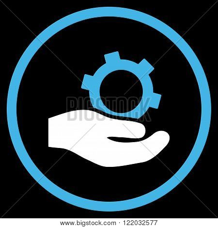 Engineering Service vector icon. Style is bicolor flat rounded iconic symbol, engineering service icon is drawn with blue and white colors on a black background.