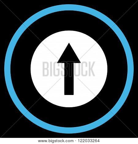 Up Rounded Arrow vector icon. Style is bicolor flat rounded iconic symbol, up rounded arrow icon is drawn with blue and white colors on a black background.