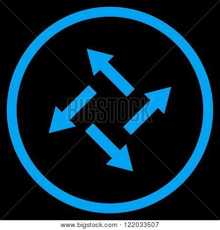 Centrifugal Arrows vector icon. Style is flat rounded iconic symbol, centrifugal arrows icon is drawn with blue color on a black background.