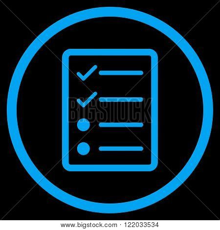 Checklist Page vector icon. Style is flat rounded iconic symbol, checklist page icon is drawn with blue color on a black background.