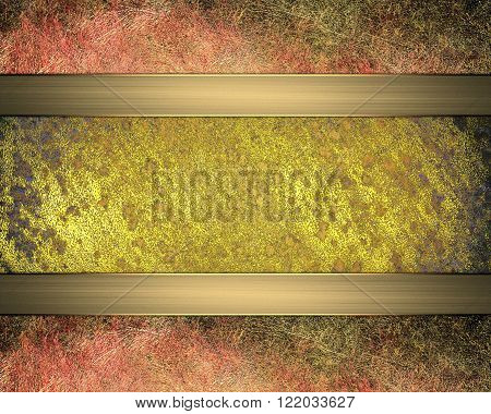 Grunge Golden Plaque With Reddish Edges. Element For Design. Template For Design. Copy Space For Ad