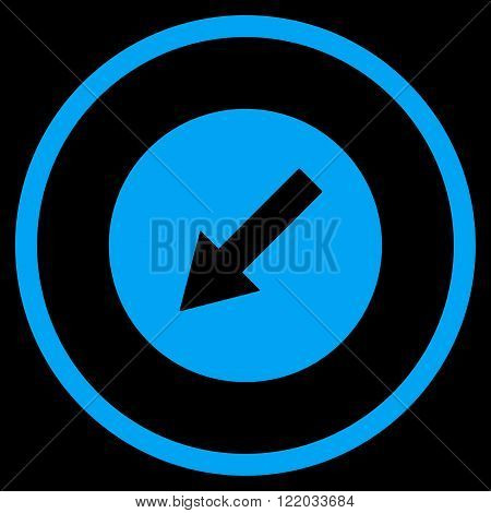 Down-Left Rounded Arrow vector icon. Style is flat rounded iconic symbol, down-left rounded arrow icon is drawn with blue color on a black background.