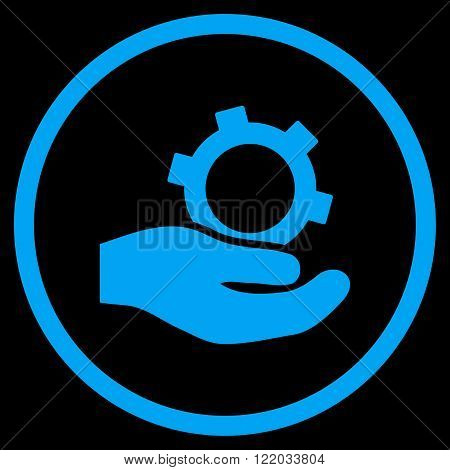 Engineering Service vector icon. Style is flat rounded iconic symbol, engineering service icon is drawn with blue color on a black background.