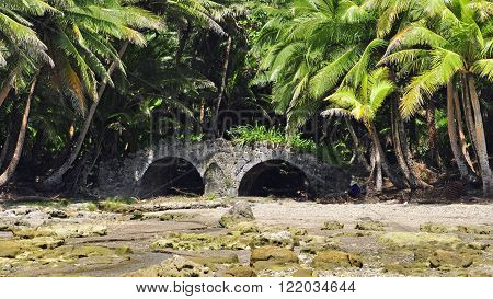 The old spanish bridge at Sella Bay on the south iside of Guam.