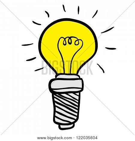 freehand drawn cartoon illustration lightbulb
