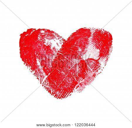 Love heart of fingerprints on white background