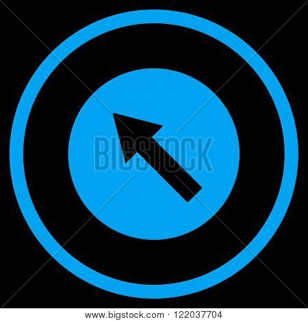 Up-Left Rounded Arrow vector icon. Style is flat rounded iconic symbol, up-left rounded arrow icon is drawn with blue color on a black background.