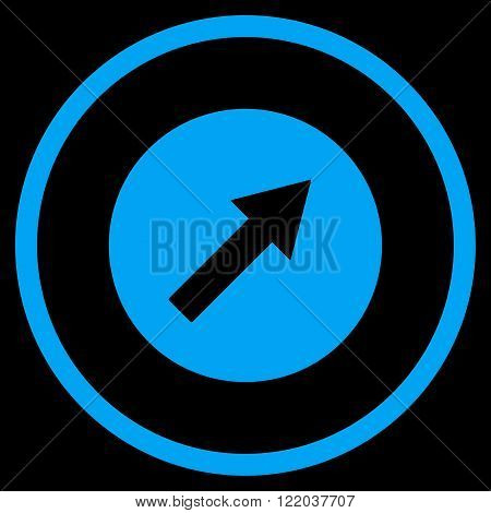 Up-Right Rounded Arrow vector icon. Style is flat rounded iconic symbol, up-right rounded arrow icon is drawn with blue color on a black background.