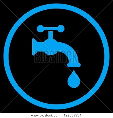 Water Tap vector icon. Style is flat rounded iconic symbol, water tap icon is drawn with blue color on a black background.