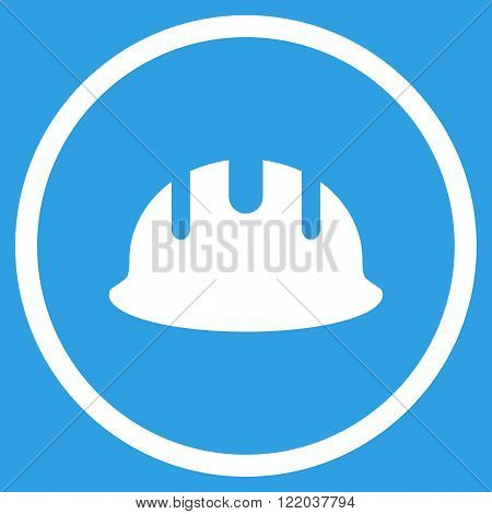 Builder Hardhat vector icon. Style is flat rounded iconic symbol, builder hardhat icon is drawn with white color on a blue background.