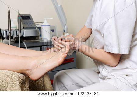 pedicure procedure in the beauty salon