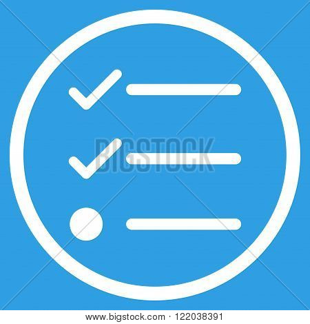 Checklist vector icon. Style is flat rounded iconic symbol, checklist icon is drawn with white color on a blue background.