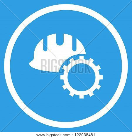 Development Hardhat vector icon. Style is flat rounded iconic symbol, development hardhat icon is drawn with white color on a blue background.