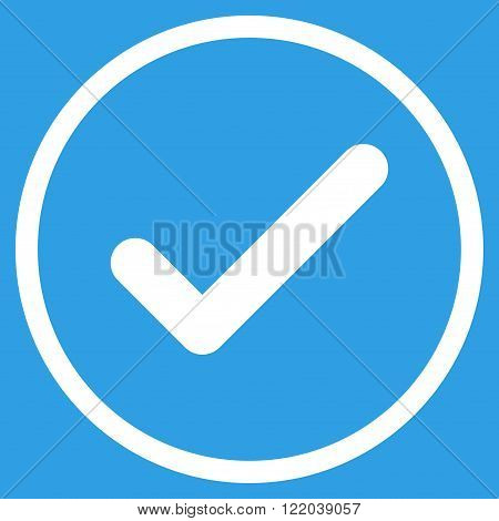 Ok vector icon. Style is flat rounded iconic symbol, ok icon is drawn with white color on a blue background.