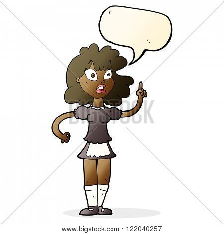 cartoon worried maid with speech bubble