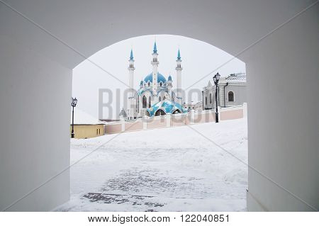 view of the Kul Sharif mosque in Kazan in winter from the courtyard of the Kazan Kremlin