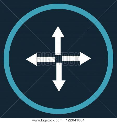Expand Arrows vector icon. Style is bicolor flat rounded iconic symbol, expand arrows icon is drawn with blue and white colors on a dark blue background.