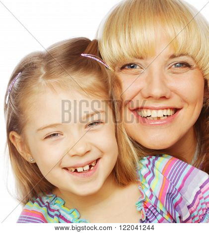 little girl with her happy mom isolated on white