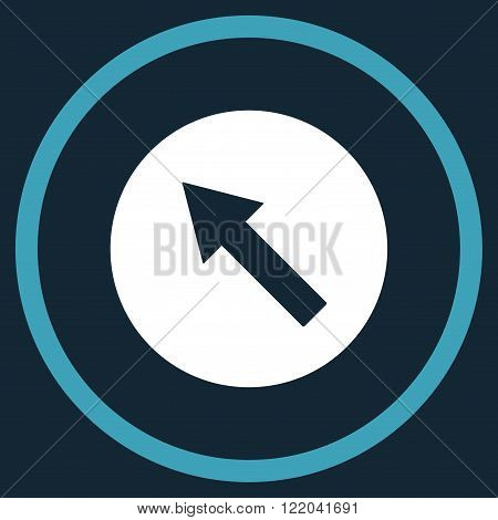 Up-Left Rounded Arrow vector icon. Style is bicolor flat rounded iconic symbol, up-left rounded arrow icon is drawn with blue and white colors on a dark blue background.