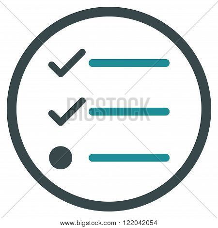 Checklist vector icon. Style is bicolor flat rounded iconic symbol, checklist icon is drawn with soft blue colors on a white background.