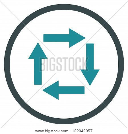 Circulation Arrows vector icon. Style is bicolor flat rounded iconic symbol, circulation arrows icon is drawn with soft blue colors on a white background.